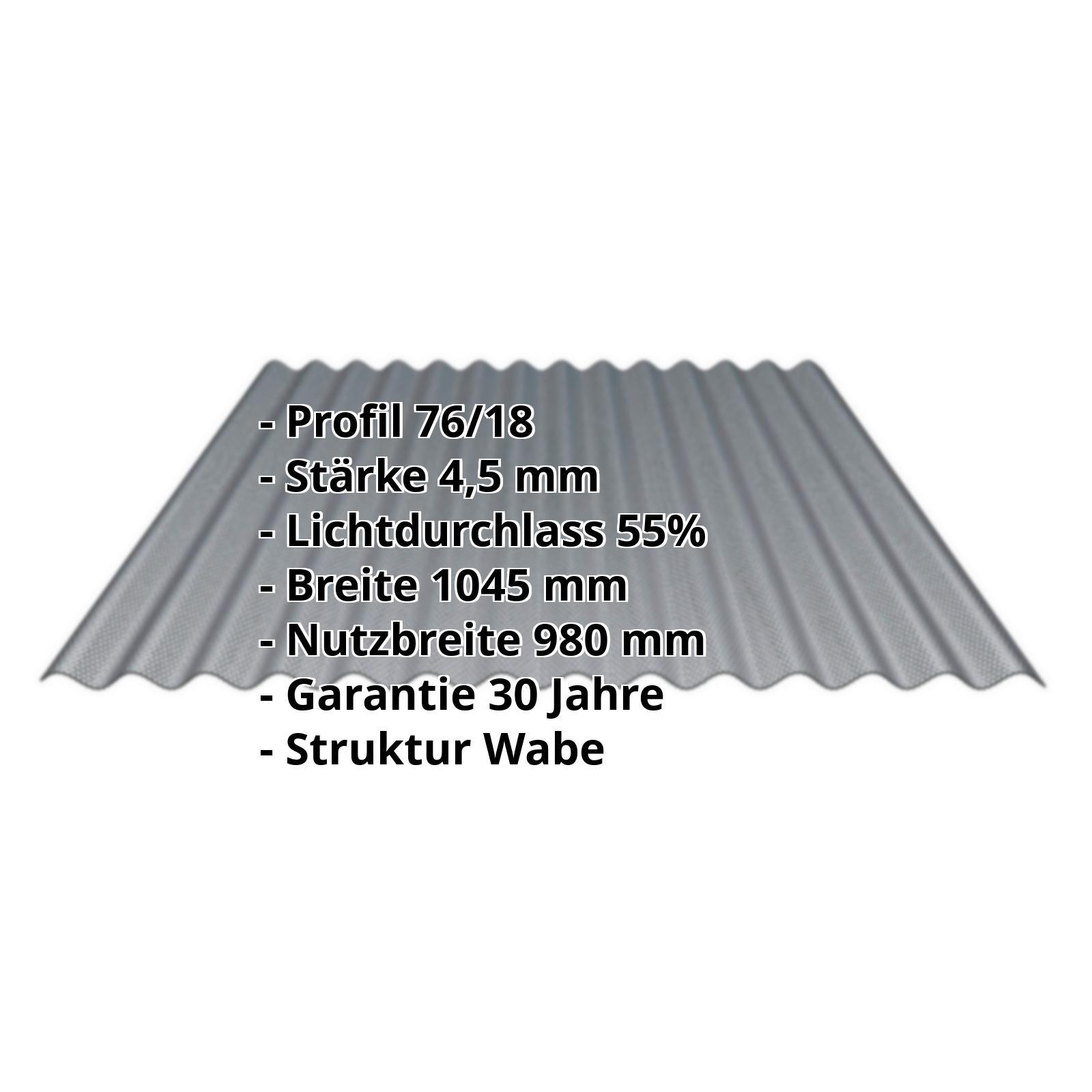 Acrylglas Wellplatte 7618 45 Mm Perlgrim Grau Wabenstruktur
