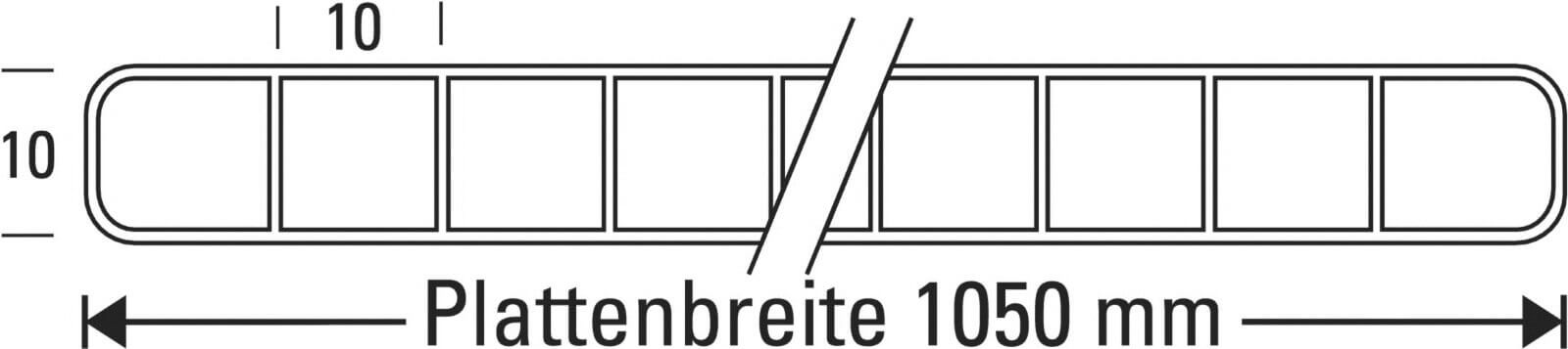 Hervorragend Polycarbonat Stegplatte | 10 mm Breite 1050 mm | Glasklar FG95